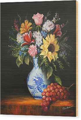 Wood Print featuring the painting Flowers In Blue And White Vase by Sandra Nardone