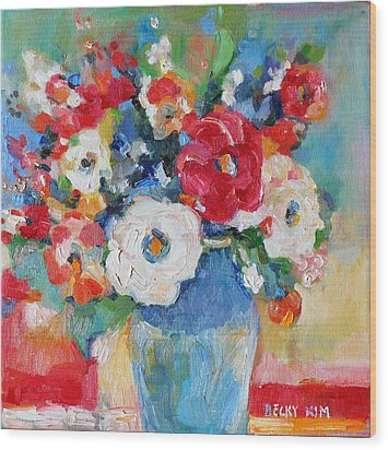 Flowers In Blue Vase 1 Wood Print by Becky Kim