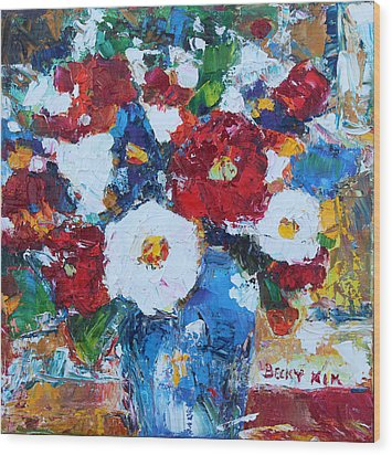 Flowers In Blue Vase 2 Wood Print by Becky Kim