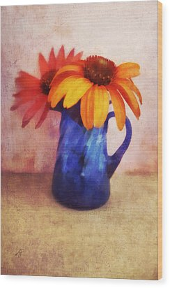 Flowers In  Blue Vase Wood Print by Ann Powell