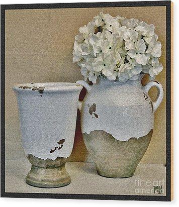 Flowers In European Pottery Wood Print by Marsha Heiken