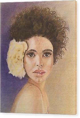 Flowers In Her Hair II. Wood Print by Paula Steffensen