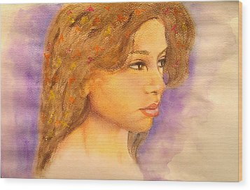 Flowers In Her Hair IIi. Wood Print by Paula Steffensen