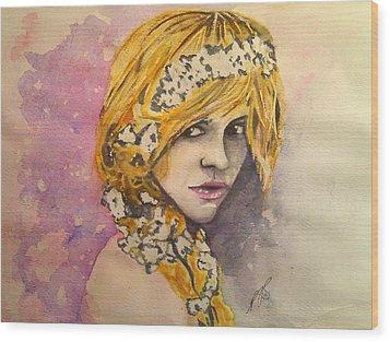 Flowers In Her Hair Series I Wood Print by Paula Steffensen
