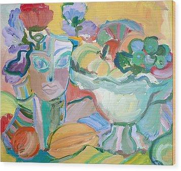 Flowers In Her Hat Wood Print by Brenda Ruark