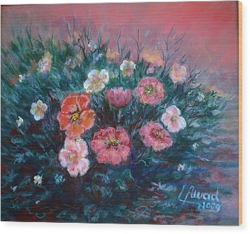 Wood Print featuring the painting Flowers In My Garden. by Laila Awad Jamaleldin
