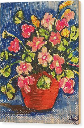 Flowers In Orange Pot Wood Print