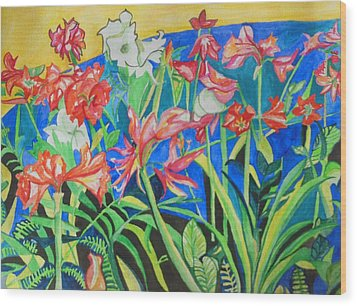 Flowers In Polyphony Wood Print by Esther Newman-Cohen