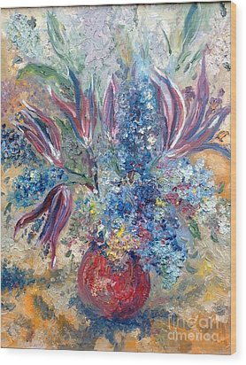 Flowers In Red Vase Wood Print by Irene Pomirchy