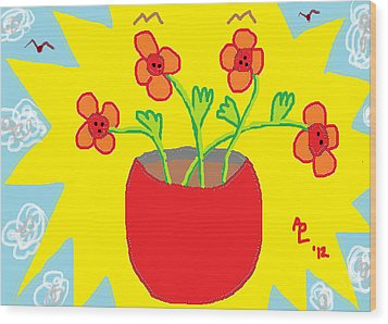 Wood Print featuring the painting Flowers In The Sun by Anita Dale Livaditis