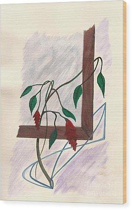Flowers In The Window Wood Print by Robert Meszaros