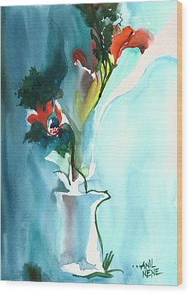 Flowers In Vase Wood Print