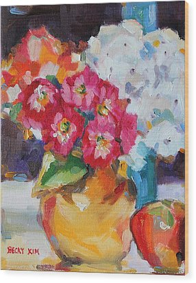Flowers In Yellow Vase With An Apple Wood Print by Becky Kim