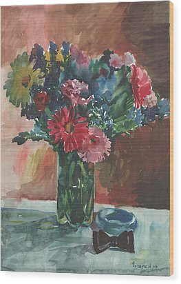 Flowers Of Italy With A Bow Tie And A Blue Bracelet Wood Print by Anna Lobovikov-Katz