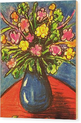 Flowers On Red Table Wood Print