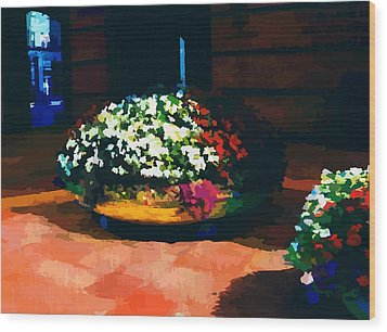 Flowers On The Canal Wood Print