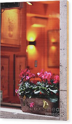 Flowers On The Ledge Wood Print by John Rizzuto