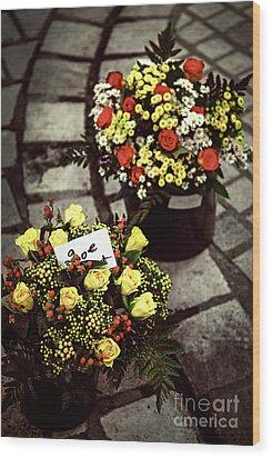 Flowers On The Market In France Wood Print by Elena Elisseeva