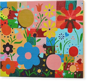 Flowers On The Quilt Wood Print