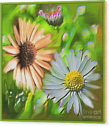 Flowers Orange And Blue Wood Print by Nedunseralathan R
