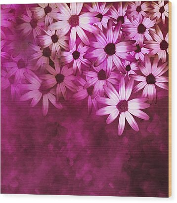 Flowers Pink On Pink Wood Print by Ann Powell