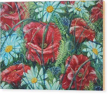 Flowers Poppies And Daisies Wood Print by Drinka Mercep