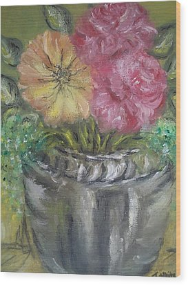 Wood Print featuring the painting Flowers by Teresa White