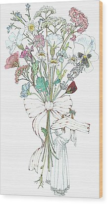 Flowers With A Girl And A Bow Wood Print by Janet Ashworth
