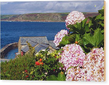 Flowers With A Sea View Wood Print by Terri Waters