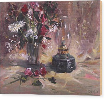 Wood Print featuring the painting Flowers With Lantern by Nancy Griswold