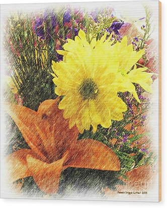 Wood Print featuring the photograph Flowers With Love by Luther Fine Art