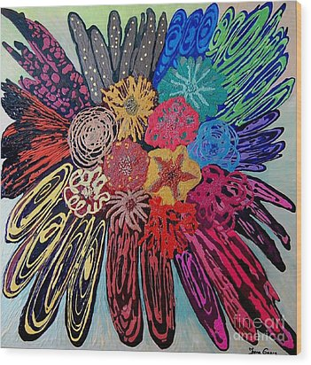 Wood Print featuring the painting Flowers Burst By Jasna Gopic by Jasna Gopic