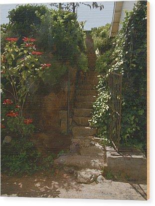 Flowery Stairway Wood Print by Dominique Amendola