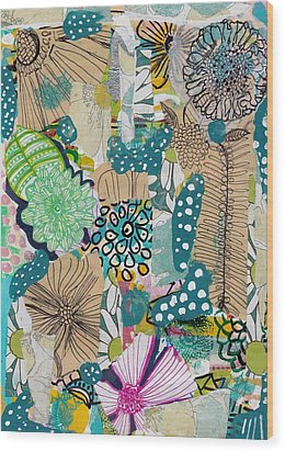 Flowes In An Ocean Forest Wood Print