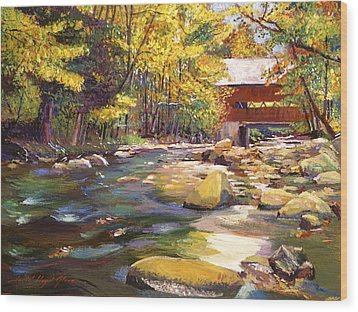 Flowing Water At Red Bridge Wood Print by David Lloyd Glover