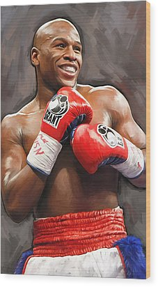 Wood Print featuring the painting Floyd Mayweather Artwork by Sheraz A