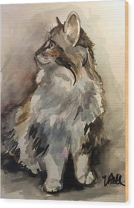 Fluffy Cat Wood Print by Pattie Wall