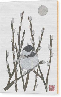 Chickadee Art Hand-torn Newspaper Collage Art By Keiko Suzuki Bless Hue Wood Print by Keiko Suzuki