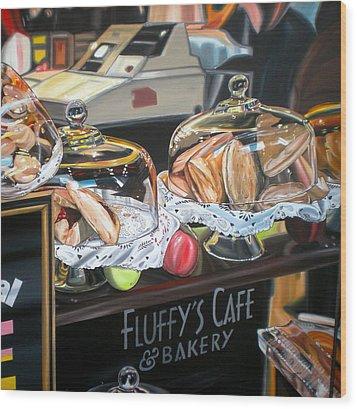 Fluffy's Cafe Wood Print by Anthony Mezza