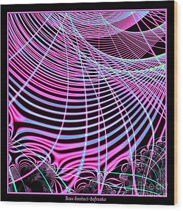 Fluorescent Neon Web Fractal 45 Wood Print by Rose Santuci-Sofranko