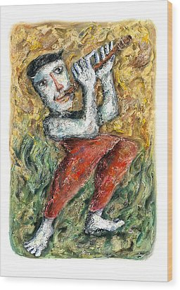 Flute Player Wood Print by Nalidsa Sukprasert