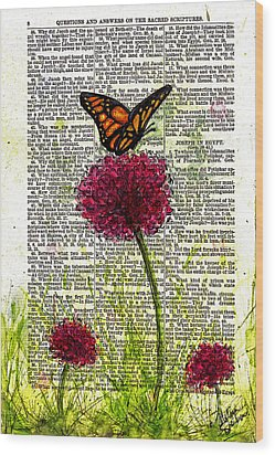 Wood Print featuring the painting Flutter By by Melissa Sherbon