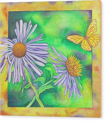 Flutters And Flowers Wood Print by Cynthia Stewart