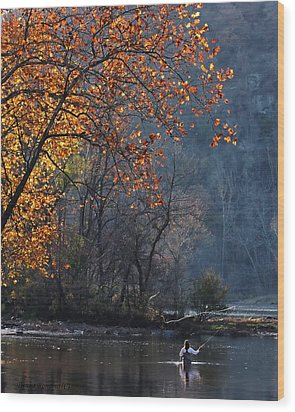 Fly Fisherwoman Wood Print