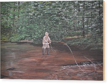 Wood Print featuring the painting Fly Fishing by Debbie Baker