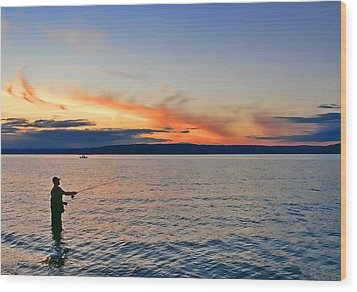Fly Fishing  Fisherman On Puget Sound Washington Wood Print by Jennie Marie Schell