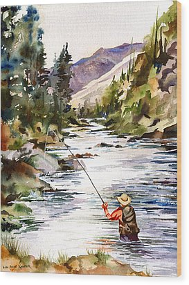 Fly Fishing In The Mountains Wood Print by Beth Kantor