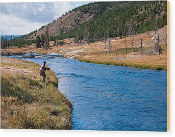 Fly Fishing In Yellowstone  Wood Print by Lars Lentz