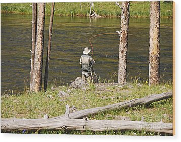 Wood Print featuring the photograph Fly Fishing by Mary Carol Story