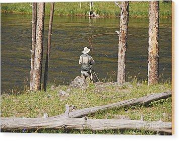 Fly Fishing Wood Print by Mary Carol Story